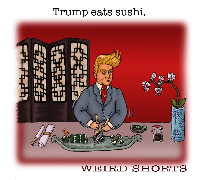 Trump eats sushi